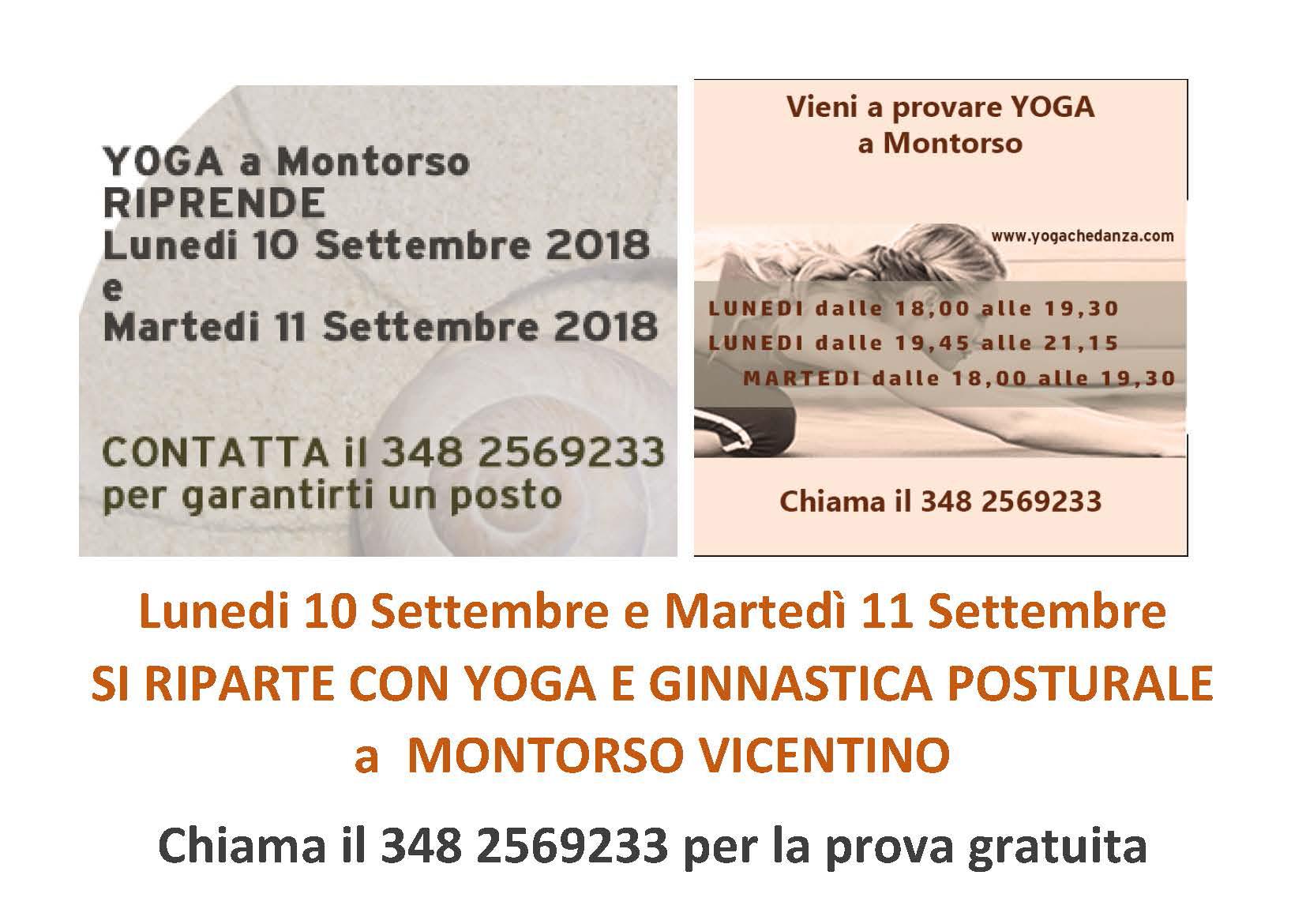 RIPARTONO CORSI YOGA GINNASTICA POSTURALE SETTEMBRE 2018