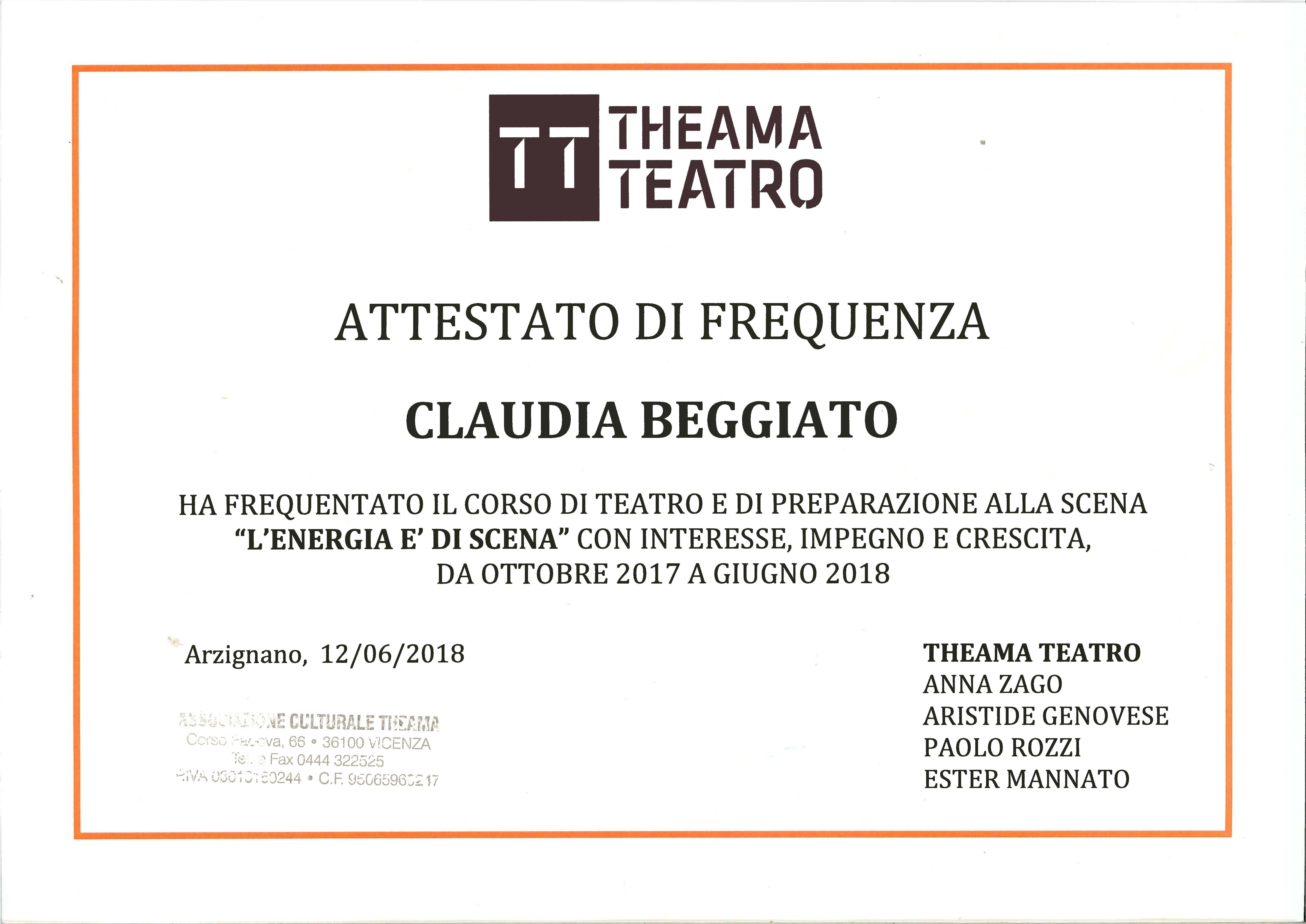"""Claudia Beggiato CORSO DI TEATRO E DI PREPARAZIONE ALLA SCENA """"L'ENERGIA E' DI SCENA"""""""