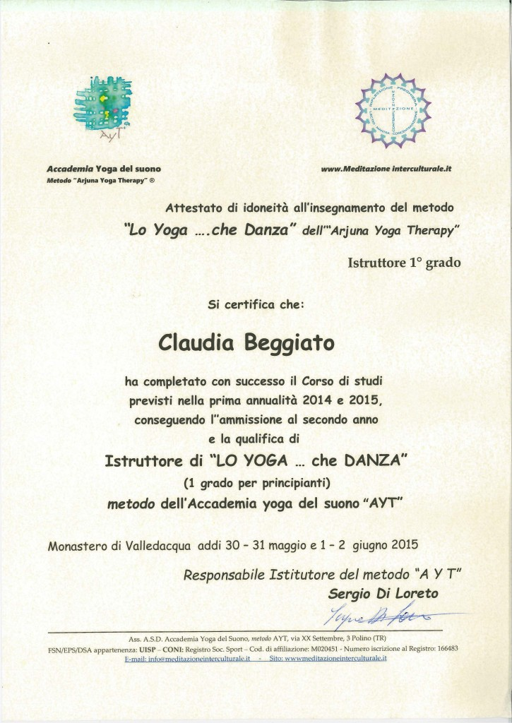 Claudia Beggiato - Istruttore Yoga Metodo AYT