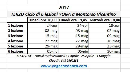 Lezioni Yoga per adulti a Montorso - Aprile e Maggio 2017