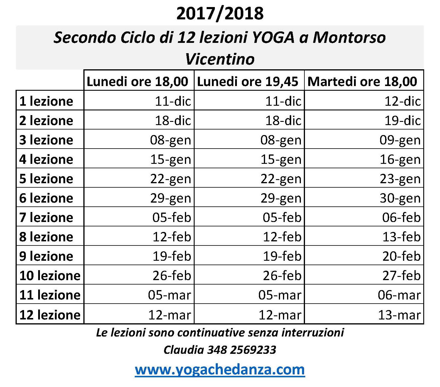 secondo ciclo corsi yoga montorso dal 11 Dicembre 2017 al 12 marzo 2018