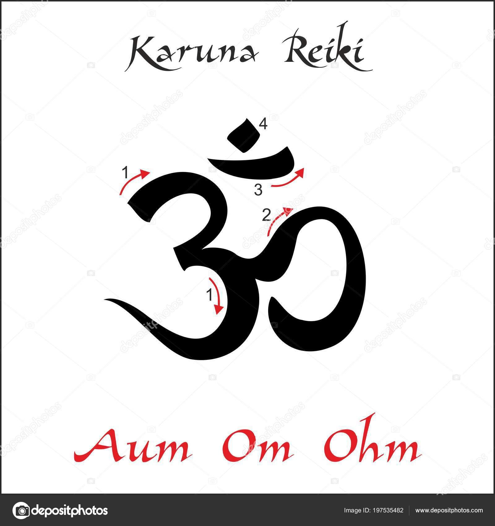 Karuna Reiki. Energy healing. Alternative medicine. Om Aum Ohm Symbol. Spiritual practice. Esoteric. Vector